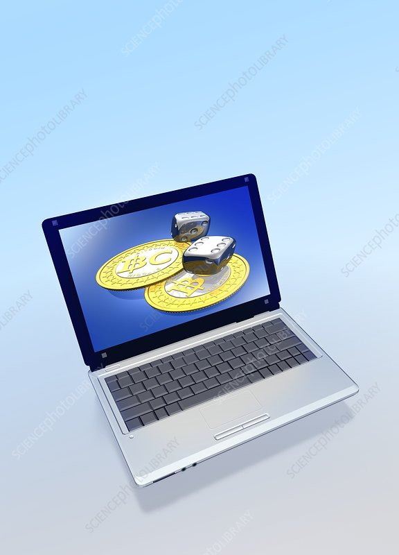 Bitcoins and dice on a laptop, artwork