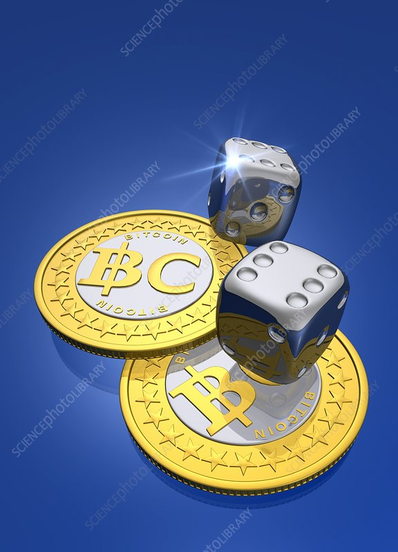 Bitcoins and dice, artwork