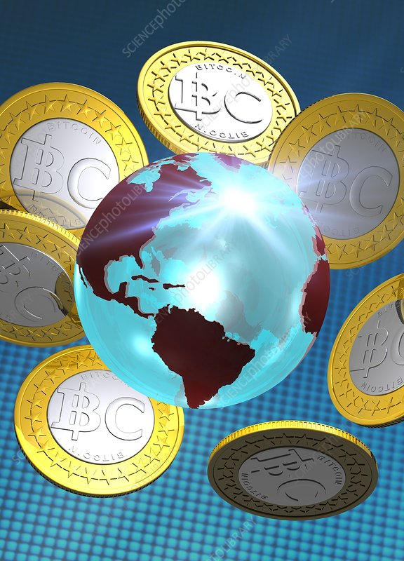 Globe and bitcoins, artwork