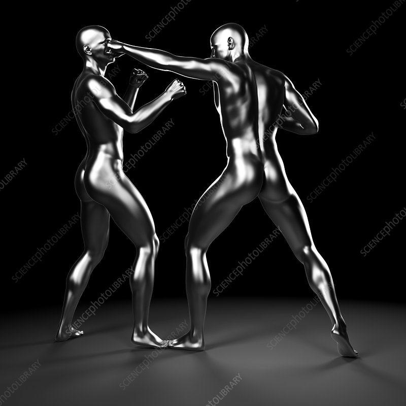 Two boxers fighting, artwork