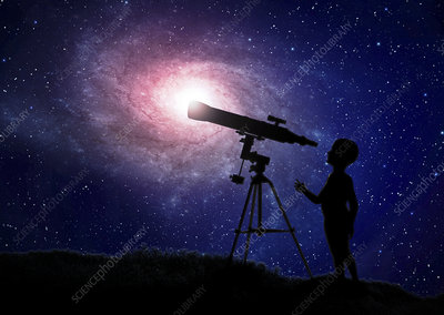 Telescope at night, artwork