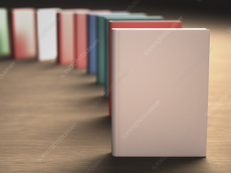 Books standing in a row, artwork