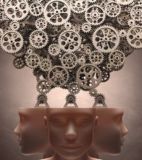 Human heads with cogs, artwork