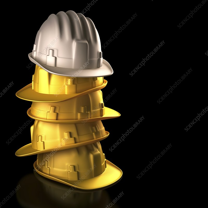 Stack of hard hats, artwork