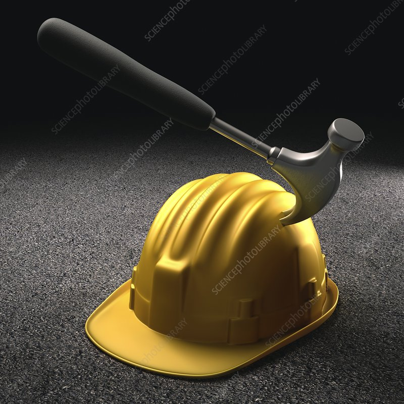 Hammer hitting a hard hat, artwork
