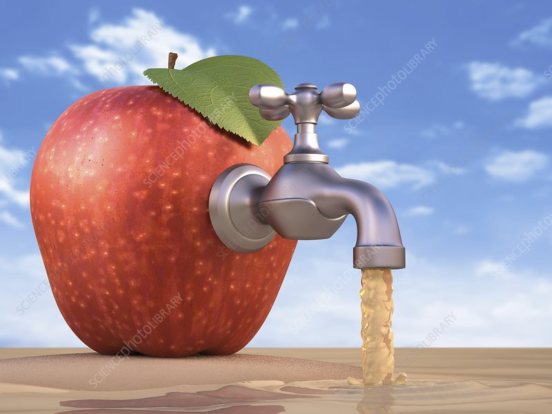 Red apple with a tap, artwork