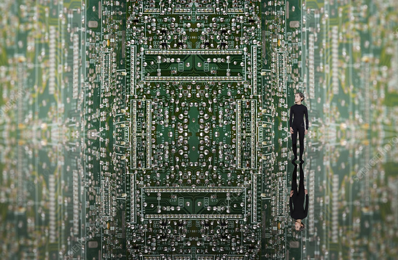 Woman on circuit board, digital composite