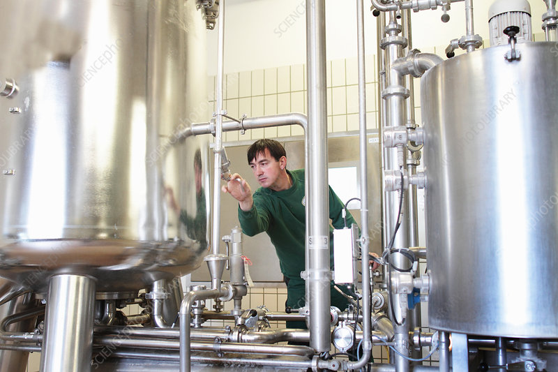 Brewery worker operating machine