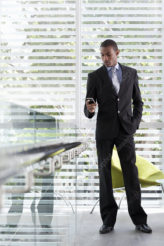Businessman using texting on mobile phone