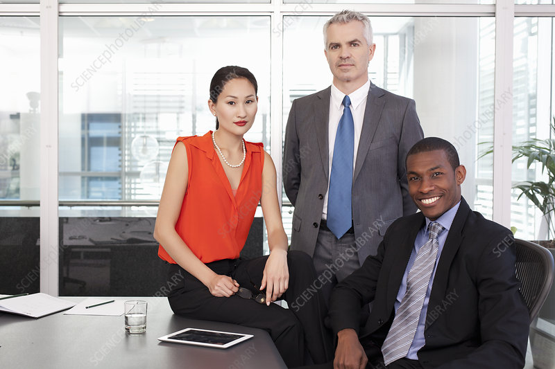 Manager and partners in office