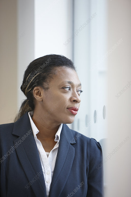 Portrait of businesswoman looking away