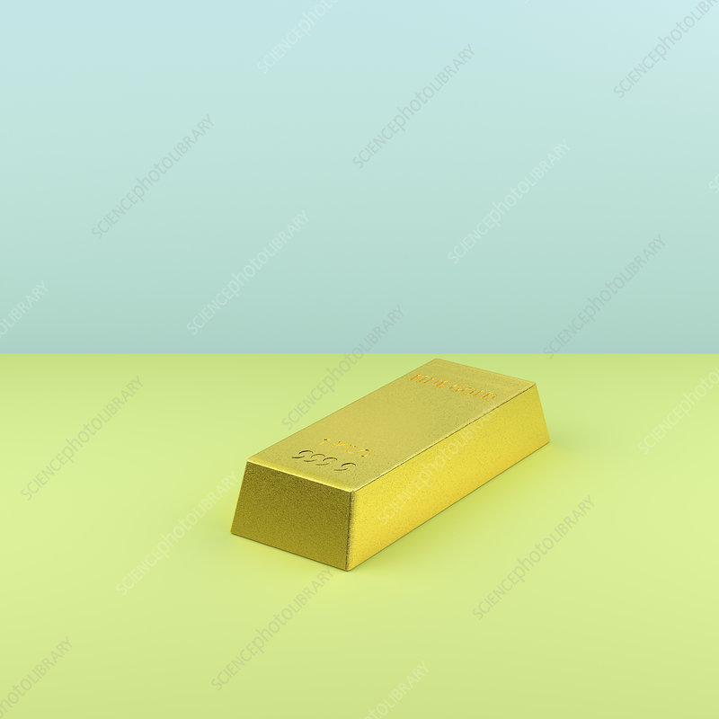 Gold bar on green and blue background