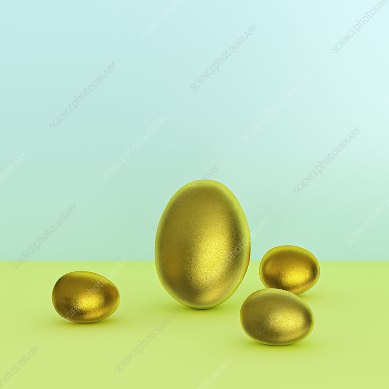 One large and three small golden eggs