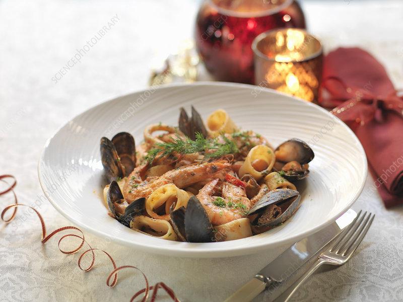 Calamarata seafood pasta