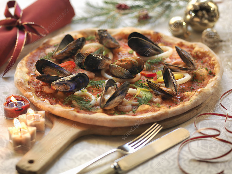 Homemade seafood pizza