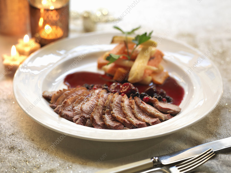 Pan fried duck breast with a fruit sauce