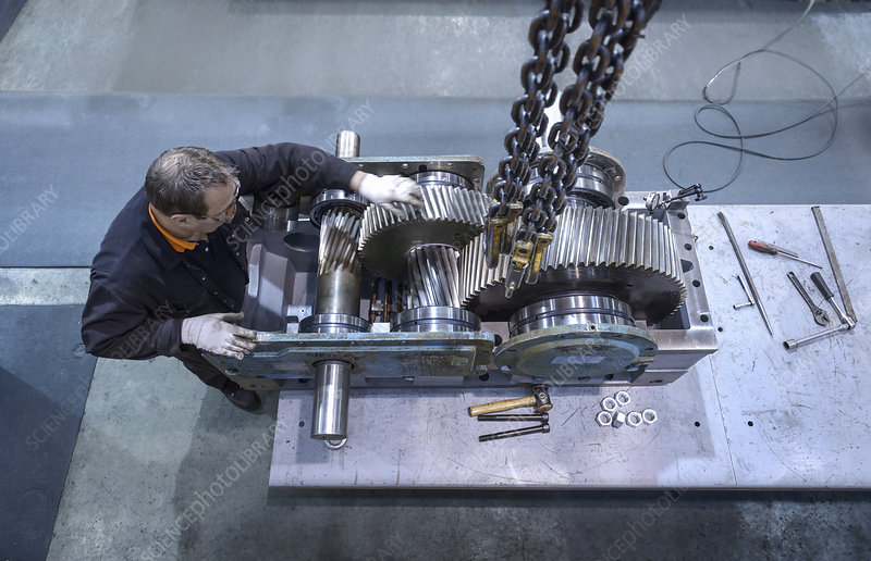 Engineer repairing gearbox