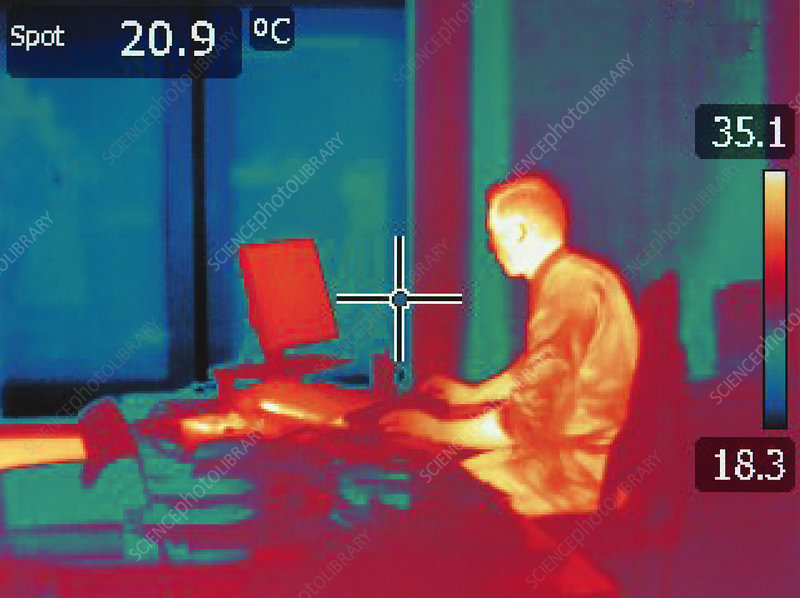 Infrared image of office worker