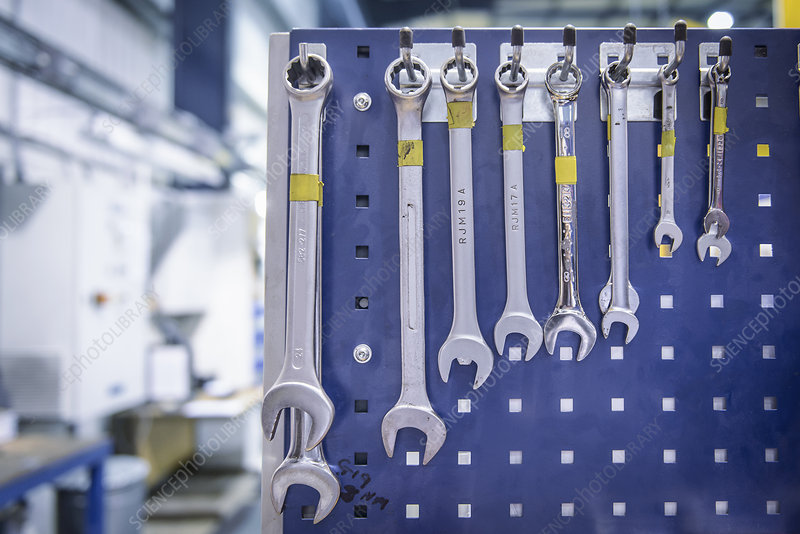 Spanners hanging from workstation rack