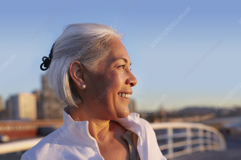 Close up profile of silver-haired woman