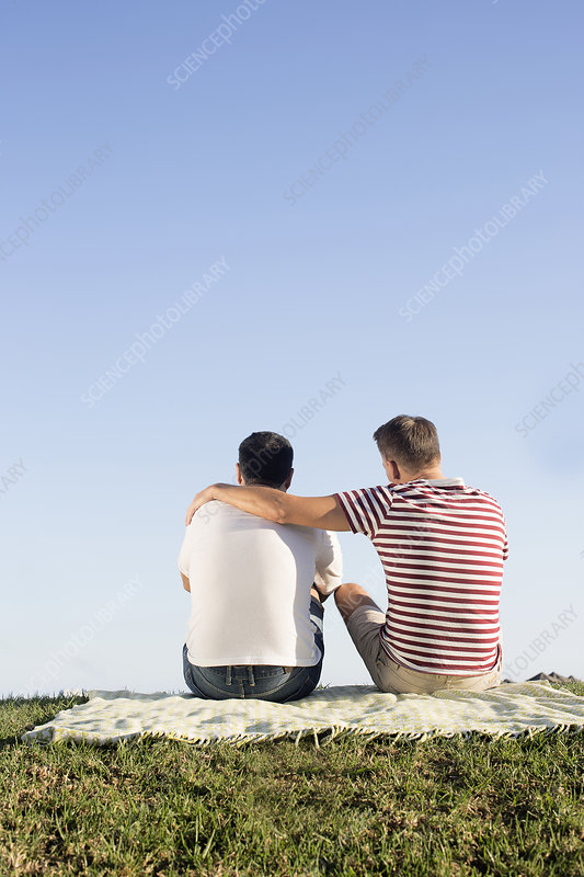 Male couple sitting on picnic blanket