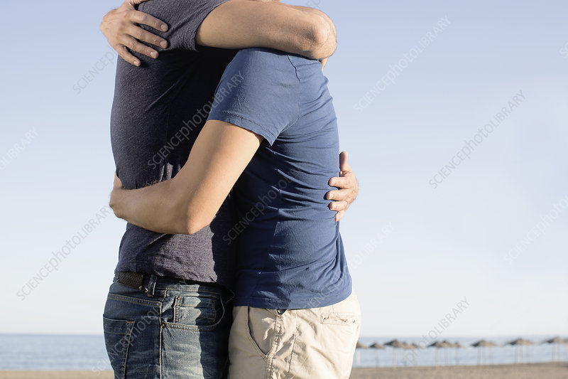 Mature male couple hugging on beach