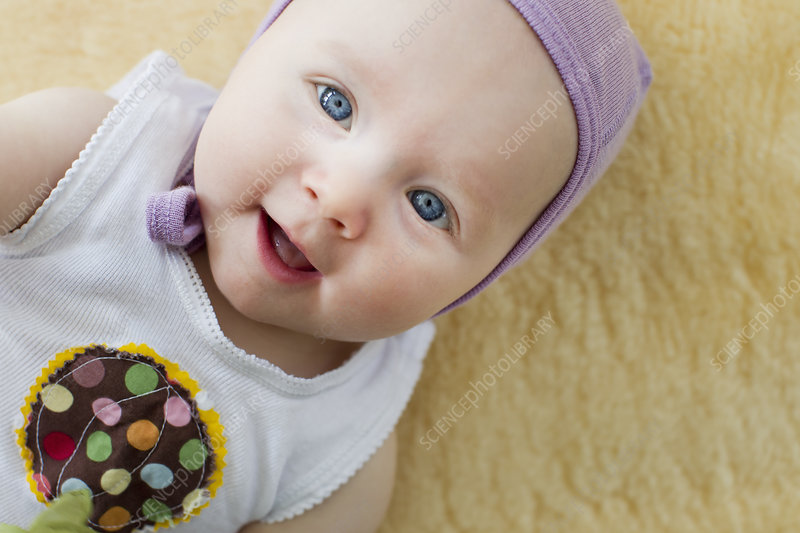 Portrait of baby girl with blue eyes