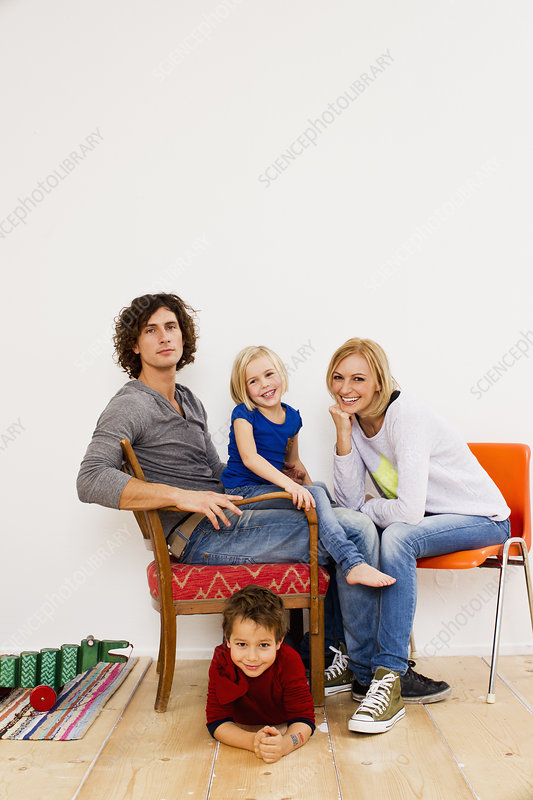 Couple sitting with son and daughter