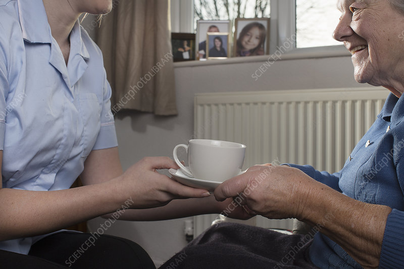 Carer handing senior woman cup of tea