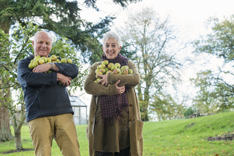 Happy senior couple with armful of apples