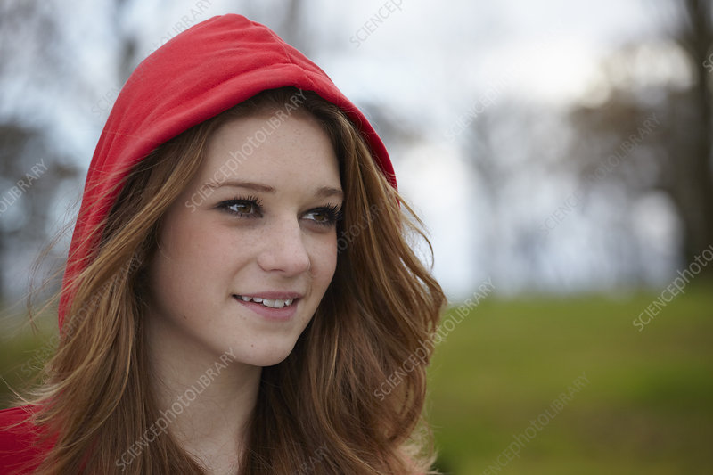 Teenage girl in red hood