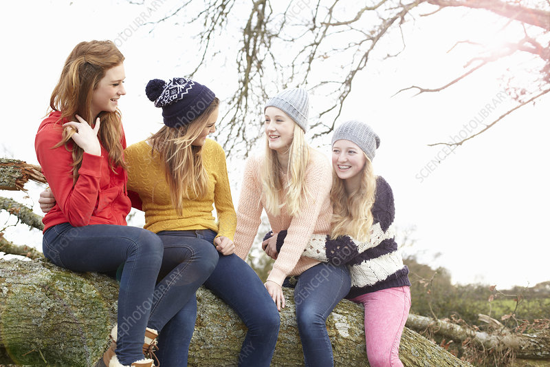 Teenage girls sitting on tree trunk