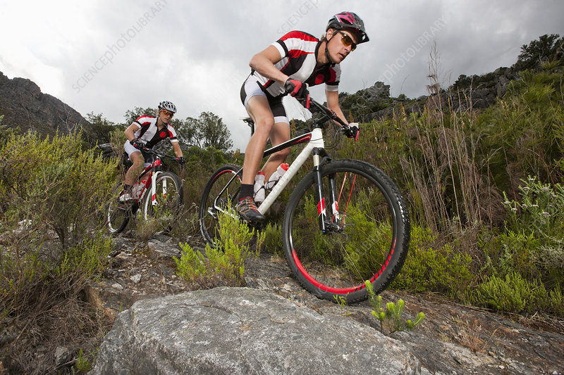 Young couple riding mountain bikes