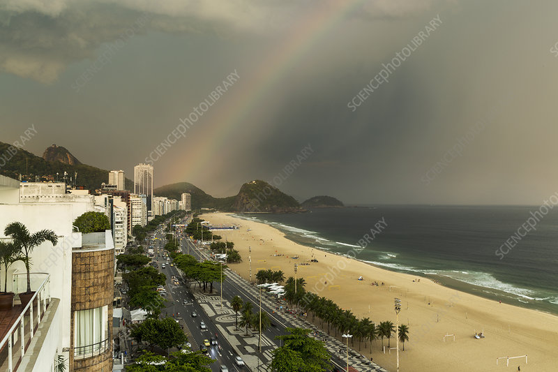 Copacabana beach and rainbow, Brazil