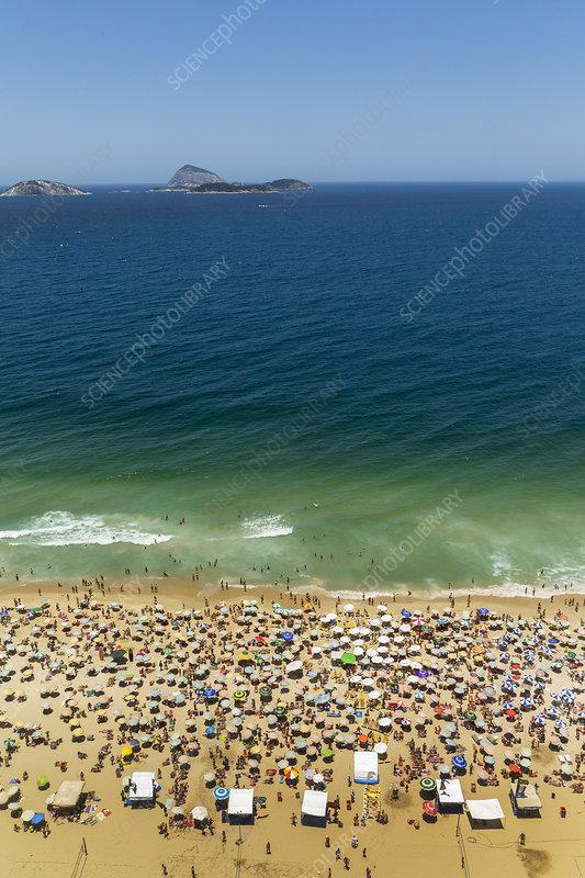 Ipanema beach and holiday crowds, Brazil