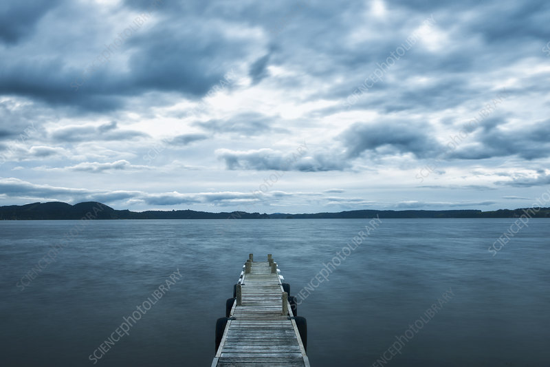 Wooden pier, Taupo, New Zealand