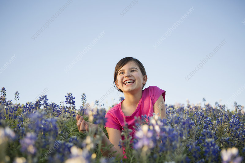 A young girl in field of wild flowers