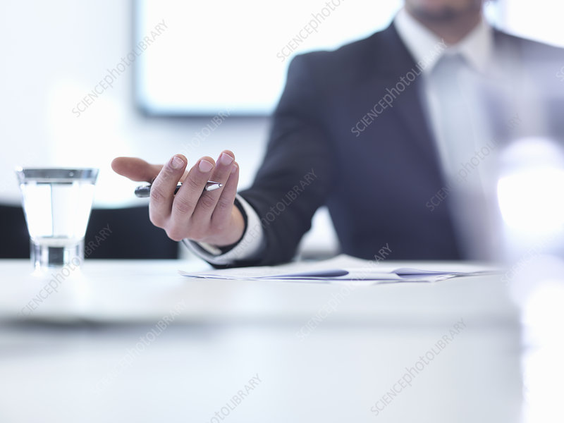 Businessman in meeting, close up