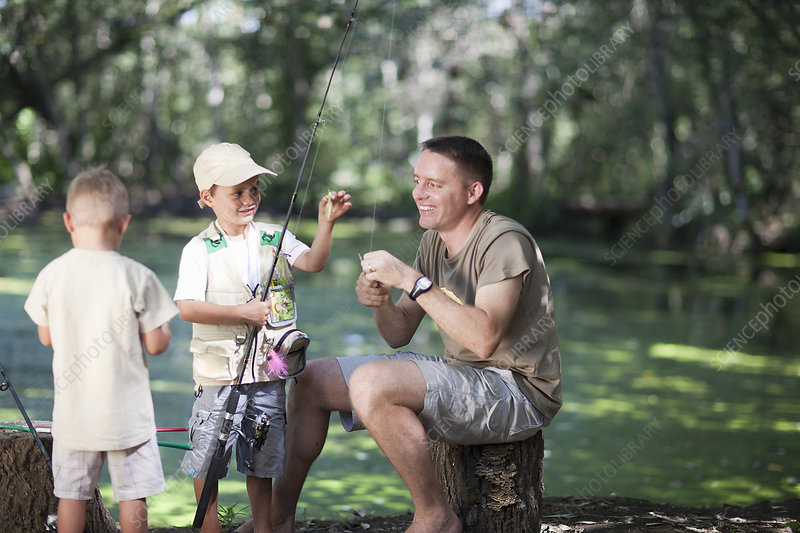 Father and sons on fishing trip