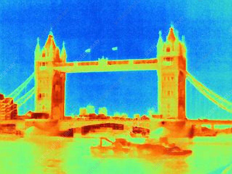 Thermal image of Tower Bridge, London, UK