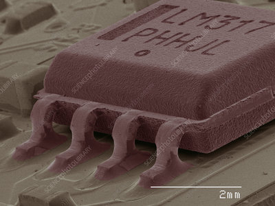 Coloured SEM of computer chip