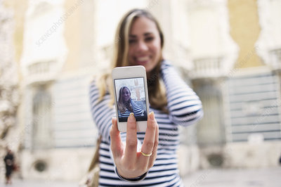 Woman posing for self portrait