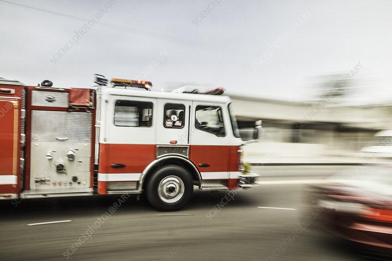 Speeding fire engine