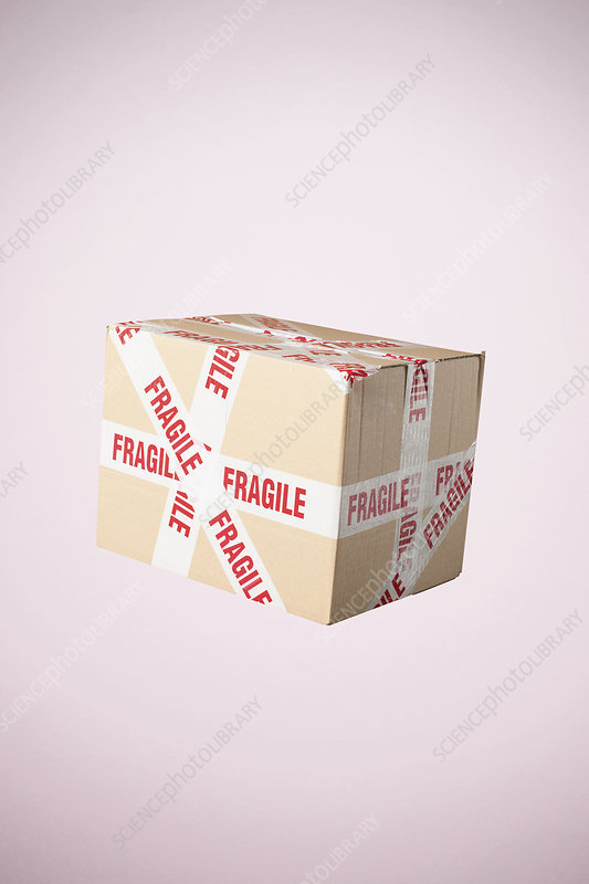 Cardboard box marked fragile