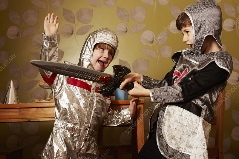 Two boys dressed as knights