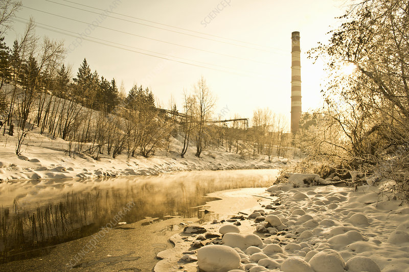 Factory chimney and stream, Russia