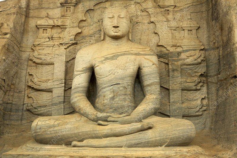 Stone carved seated buddha sri lanka stock image f