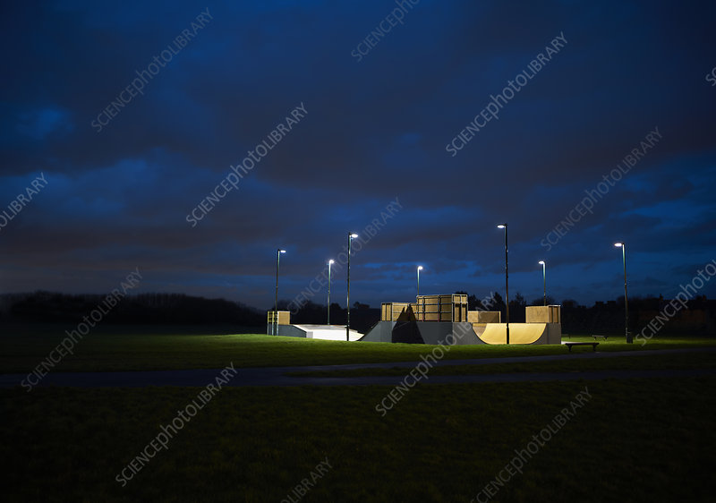 Distant view of skateboard park at night