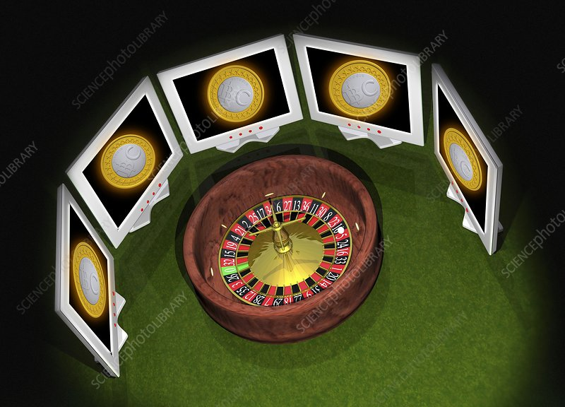 Roulette wheel and bitcoins