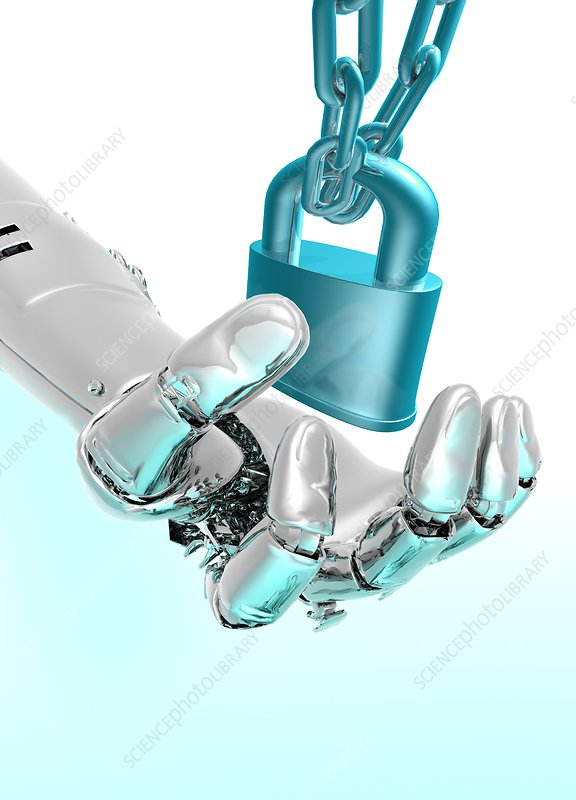 Robotic hand and padlock, artwork